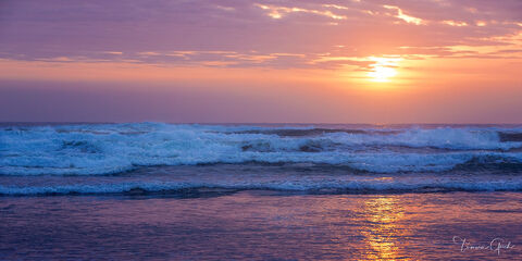 Ocean Waves at Sunset  print