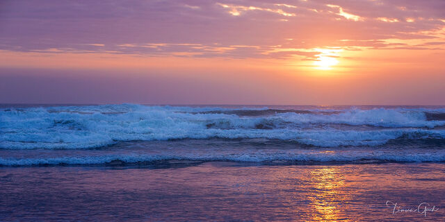 """Ocean waves at Sunset"""" is a stunning fine art print shown below as a Lumachrome Trulife Acrylic Print at a size of 36 x 72."""