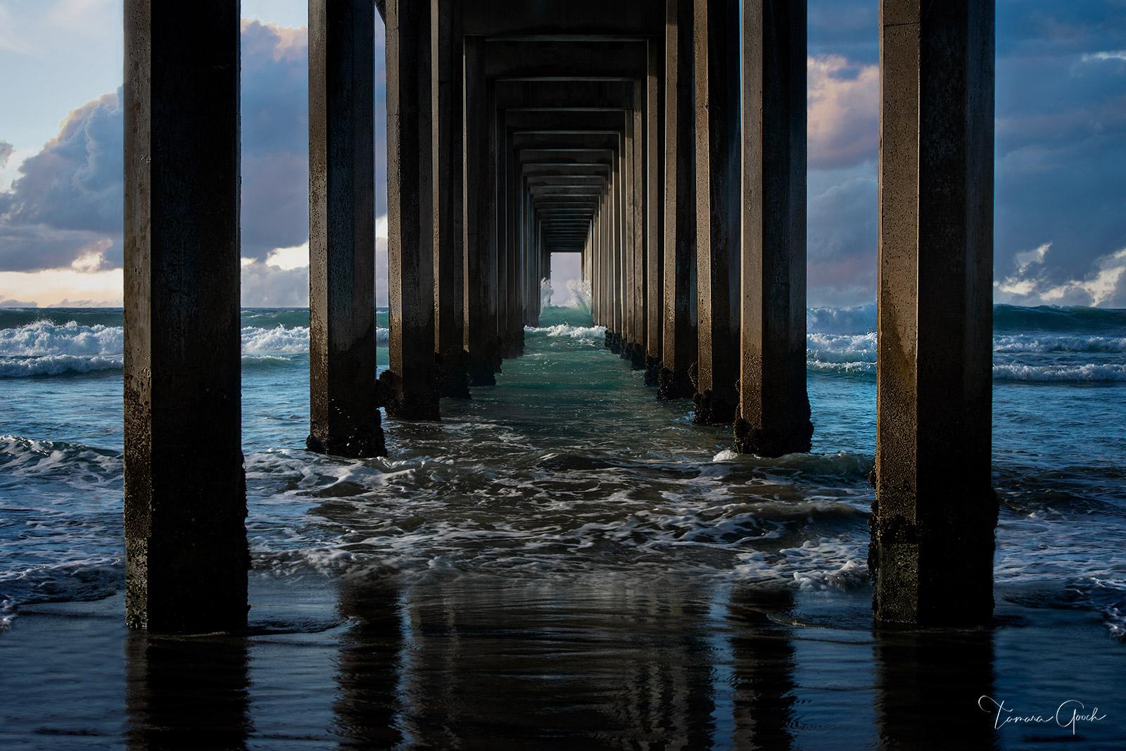 pier, fascination, beach, ocean, sea, waves, clouds, sky, pilings, nature, Scripps pier, Scripps, Lumachrome, acrylic, interior design, home decor, living, coast, coastal, coastal living, lifestyle, , photo