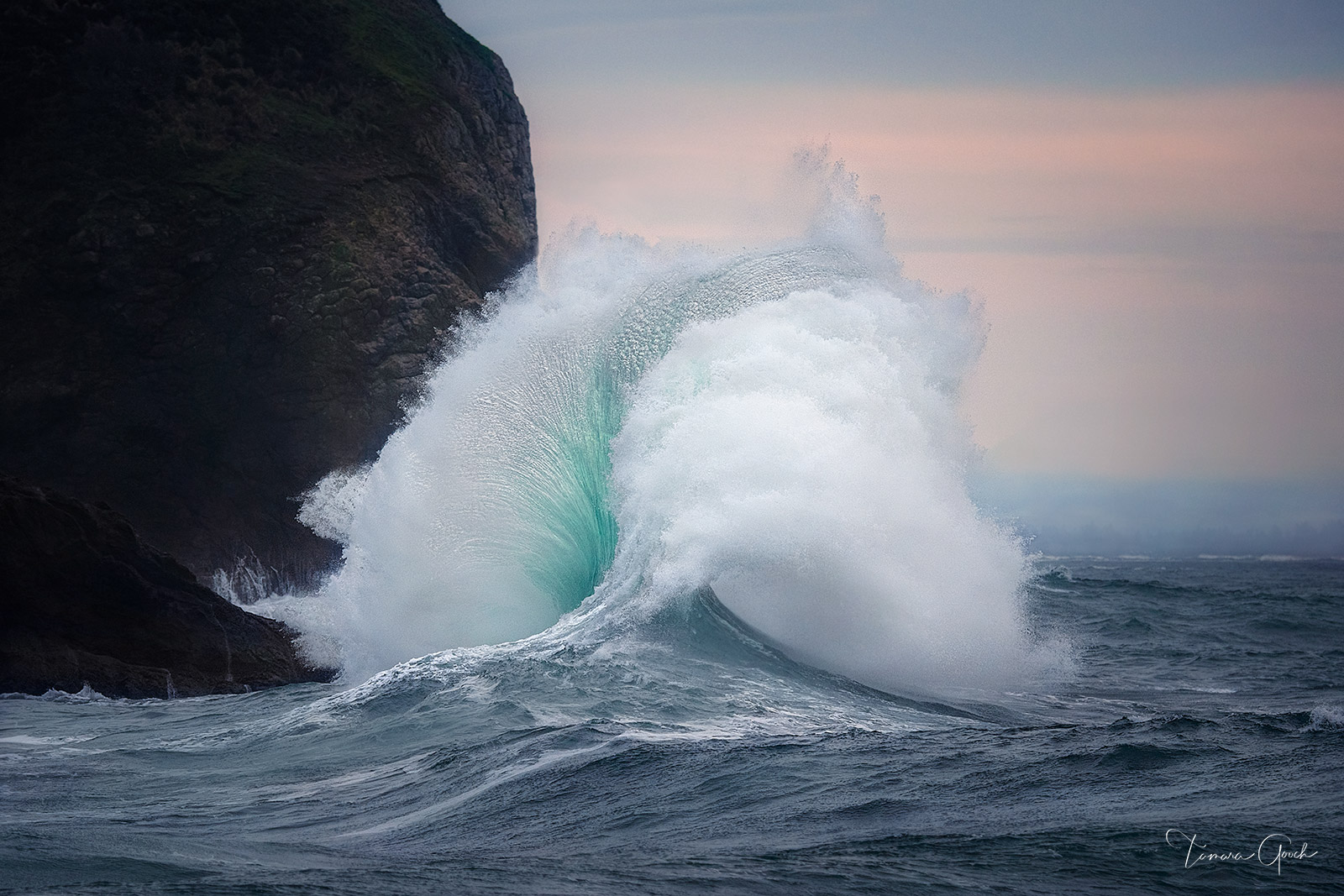 Limited Edition Print of 50 Breaker Wave photographed during King Tides at Cape Disappointment Washington.