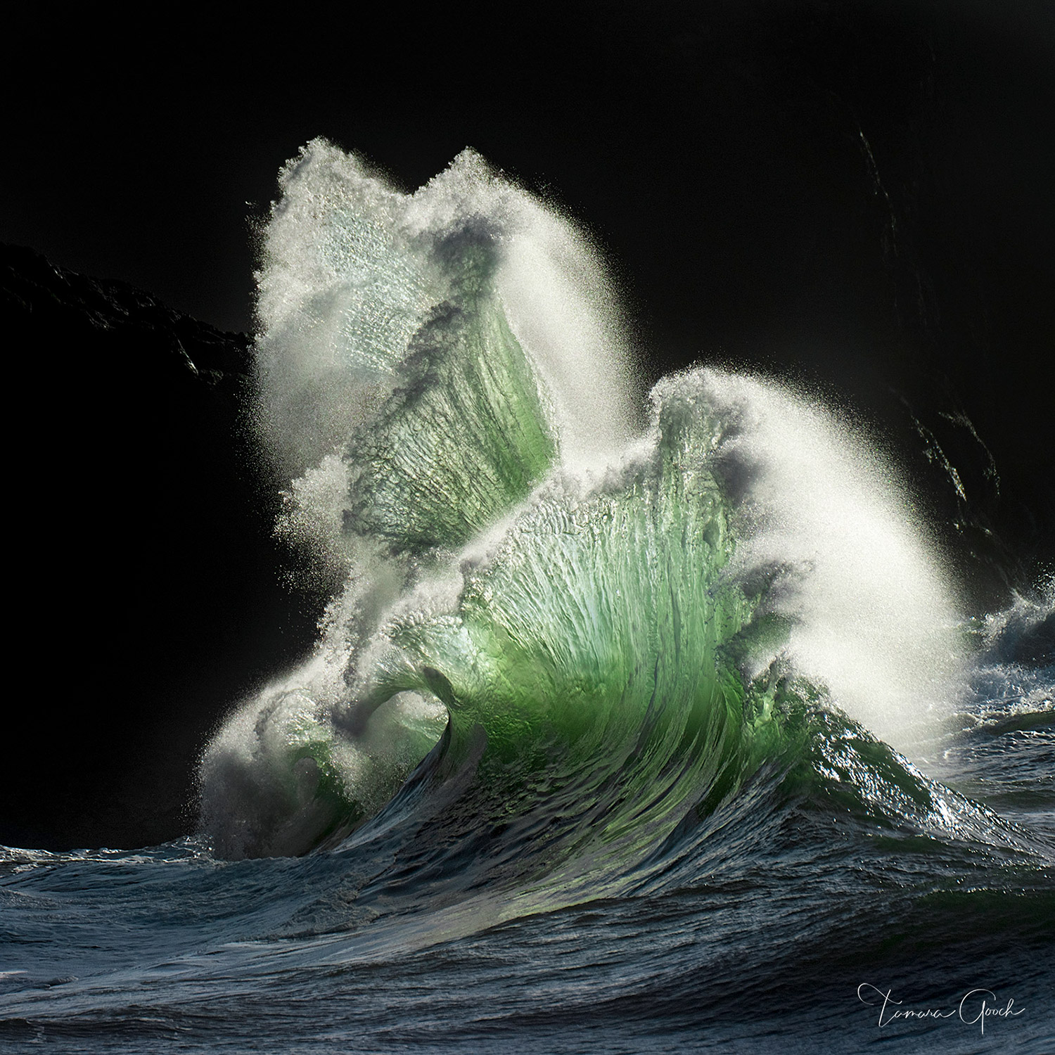 Fine art limited edition photograph of Fan Waves in the ocean shown printed on Chromalux museum quality metal for a superior presentation.