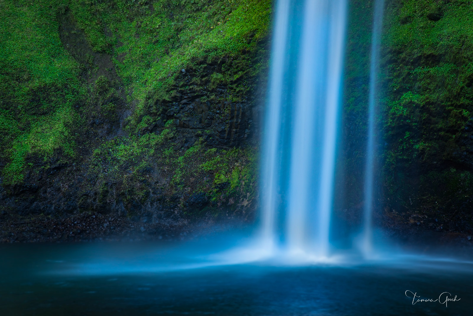 A lovely fine art limited edition print of a waterfall cascading into a pool of water. The dark rock wall behind covered with brilliant green foliage.
