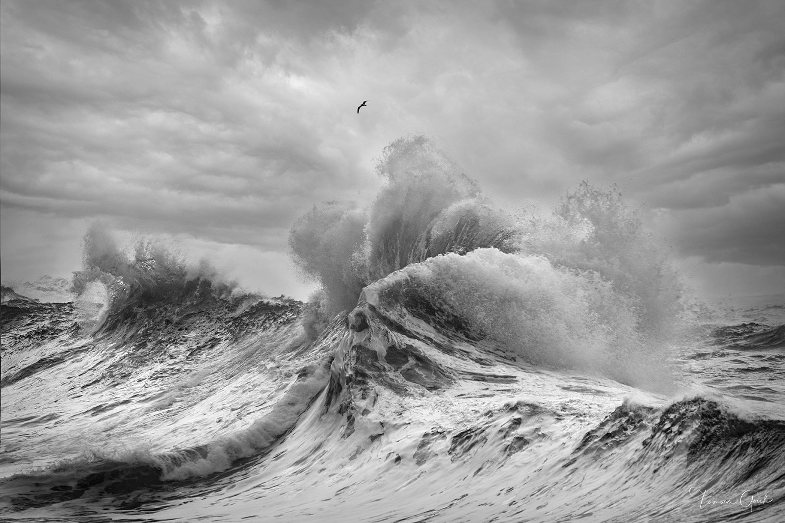 Stormy Seas is a black and white limited edition fine art photo print of the ocean and it's turbulent seas and amazing wave formations that occur during a storm